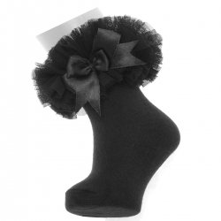 Babies And Toddlers Girls Black Lace Tutu Bow Socks