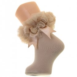 Girls Caramel Colour Tutu Bow Socks