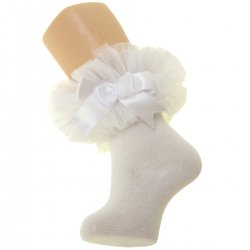 Baby Girls Ivory Lace Tutu Bow Socks