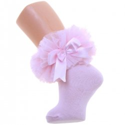 Baby Girls Pink Lace Tutu Bow Socks