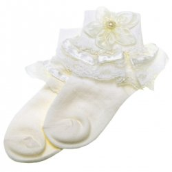 Girls Frilly Ivory Socks Ivory Lace And Flowers