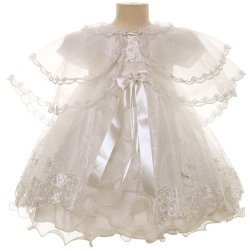 Elaborately Embroidered Ivory Girls Christening Dress With Bonnet