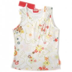 E15684 ELLE girl vest in white flowers