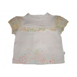 ELLE E95038 Girls Top with Yellow Green Red Flower Petals Decoration