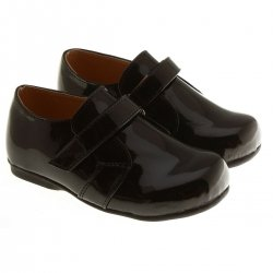 Infant Boys Smart Dress Shoes In Black With Velcro Fastening