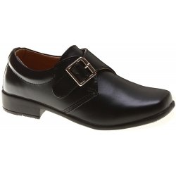 Velcro Fastening Buckle Decorated Boys Black Shoes In Matt Finish