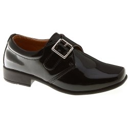 Velcro Fastening Buckle Decorated Boys Black Shoes In Patent