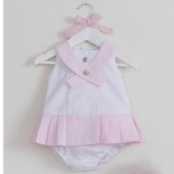 Sale Dolce Petit Baby Girls White Pink Nautical Styled Dress
