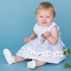 Sale Dolce Petit Baby Girls Blue Dress Double Caramel Bows White Lace