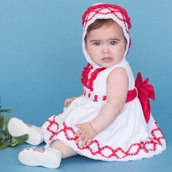 Sale Dolce Petit Baby Girls White Dress Red Frills Red Bow And Bonnet