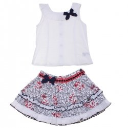 Dolce Petit Girls White Top Navy Red Floral Skirt Set