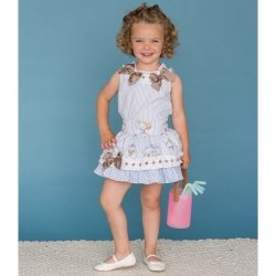 Sale Dolce Petit Girls Blue Stripes White Lace Caramel Bows Top And Skirt Set