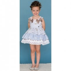 Sale Dolce Petit Girls Blue White Stripes Polka Dots White Lace Caramel Bows Dress