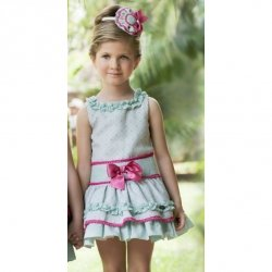 Sale Dolce Petit Girls Green Dress Pink Frills Pink Bows