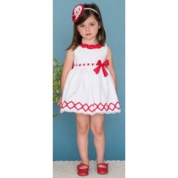 Sale Dolce Petit Girls White Dress Red Frills Red Bow