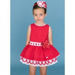 Sale Dolce Petit Girls Red Dress White Lace Red Bow