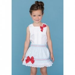 Sale Dolce Petit Girls White Top Blue Floral Skirt Outfit