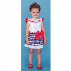 Sale Dolce Petit Girls White Top Red Frill Navy Checks Skirt Set