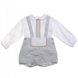 Dolce Petit Baby Boys Ivory Top Pale Blue Shorts Set Caramel Lace