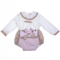 Dolce Petit Baby Girls Ivory Top Pink Jam Pants Set Caramel Lace