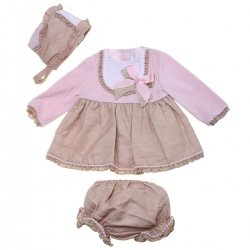 Dolce Petit Baby Girls Pink Caramel Dress With Bonnet And Panty