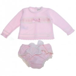 Dolce Petit Baby Girls Pink Knitted Top And Knickers Set