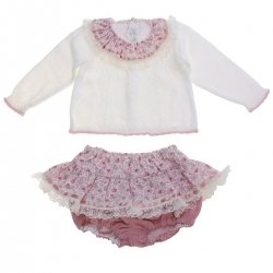 Dolce Petit Baby Girls Ivory Knitted Top Dusky Pink Floral Panty Outfit