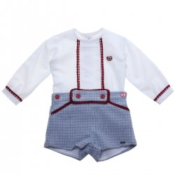Dolce Petit Baby Boys White Top Blue Shorts Burgundy Lace Outfit