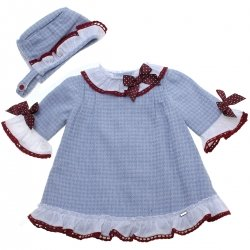 Dolce Petit Baby Girls Blue Check Dress With Bonnet Burgundy Lace Set