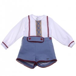 Dolce Petit Baby Boys White Top Caramel Blue Red Lace Blue Shorts