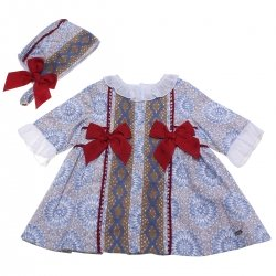 Dolce Petit Baby Girls Blue PAttern Dress Caramel Lace Red Bows With Bonnet