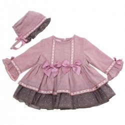 Baby Girls Dusky Pink Dress With Bonnet By Dolce Petit