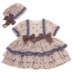 Dolce Petit Baby Girls Tan Colour Dress Brown Bows Blue Lace With Bonnet