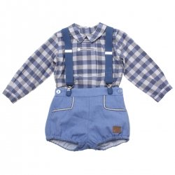 Dolce Petit Baby Boys Blue Checks Shirts Blue Shorts Braces Set
