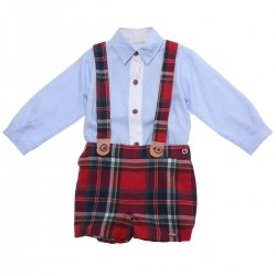 Dolce Petit Baby Boys Blue Shirt Red Tartan Shorts Braces Outfit