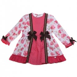 Dolce Petit Girls Fuchsia Pink Floral Dress Brown Bows