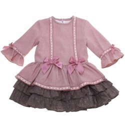 Dolce Petit Girls Dusky Pink Brown Dress Pink Lace Pink Bows
