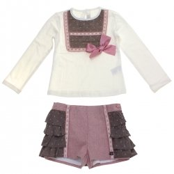 Dolce Petit Girls Ivory Top Dusky Pink Brown Ruffle Shorts Set