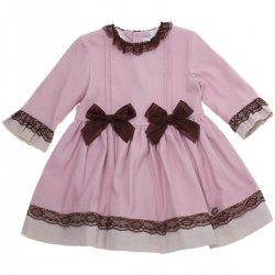 Dolce Petit Girls Dusky Pink Dress Brown Lace Brown Bows