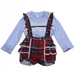 cd89fef8422e Baby boys Christmas outfit in blue and red with matching braces from ...