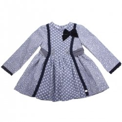 Dolce Petit Girls Blue Floral Polka Dots Dress Navy Lace