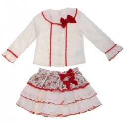 Dolce Petit Girls Ivory Top Red Floral Skirt Set Red Bows