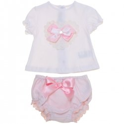 Dolce Petit 2018 Spring Summer Baby Girls White Top Pink Frilly Panty Set