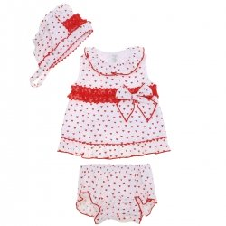 Dolce Petit  Spring Summer Baby Girls White Red Top Bonnet Shorts Set