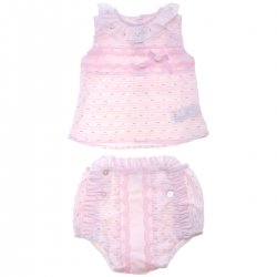 Dolce Petit 2018 Spring Summer Baby Girls Pink Top Pink Jam Pant Set