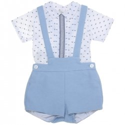 Dolce Petit 2018 Spring Summer Baby Boys White Shirt Blue Braces Shorts Set