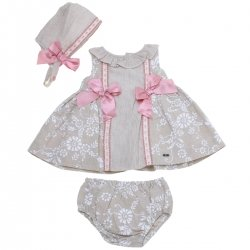 Dolce Petit 2018 Spring Summer Baby Girls Dark Beige Or Sand Colour Dress Panty Bonnet Set