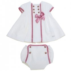 Dolce Petit 2018 Spring Summer Baby Girls Ivory Dress Panty Set Pink Bows Gold Buttons