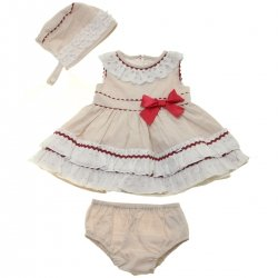 Dolce Petit 2018 Spring Summer Baby Girls Tan Dress White Frills Red Bow Bonnet Panty Set