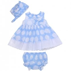Dolce Petit 2018 Spring Summer Baby Girls Blue White Dress Bonnet Panty Set